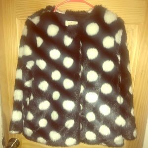 Kate Spade black/white polka dots faux fur coat
